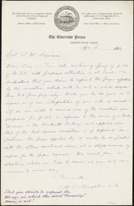 Houghton, Mifflin, & Co. typed letter signed to Thomas Wentworth Higginson, Cambridge, Mass., 16 April 1884