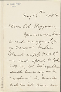 Julia Ward Howe autograph letter signed to Thomas Wentworth Higginson, Boston, Mass., 19 May 1884