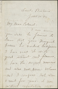 Abraham Willard Jackson autograph letter signed to Thomas Wentworth Higginson, Santa Barbara, Calif., 10 June 1884