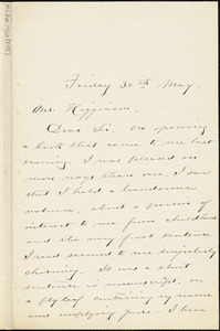 Sarah S. Jacobs autograph letter signed to Thomas Wentworth Higginson, 30 May 1884
