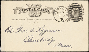 Karl Knortz autograph note signed to Thomas Wentworth Higginson, New York, N. Y., 9 April 1884
