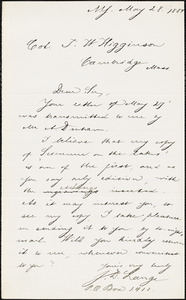 J. D. Lange autograph note signed to Thomas Wentworth Higginson, New York, N. Y., 28 May 1884