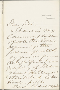 Grace Atkinson Oliver autograph letter signed to Thomas Wentworth Higginson, Swampscot, Mass., 29 May 1884