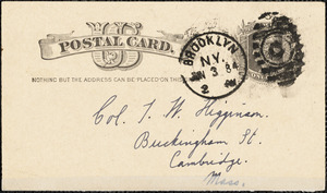A. W. R. autograph note signed to Thomas Wentworth Higginson, Brooklyn, 3 June 1884