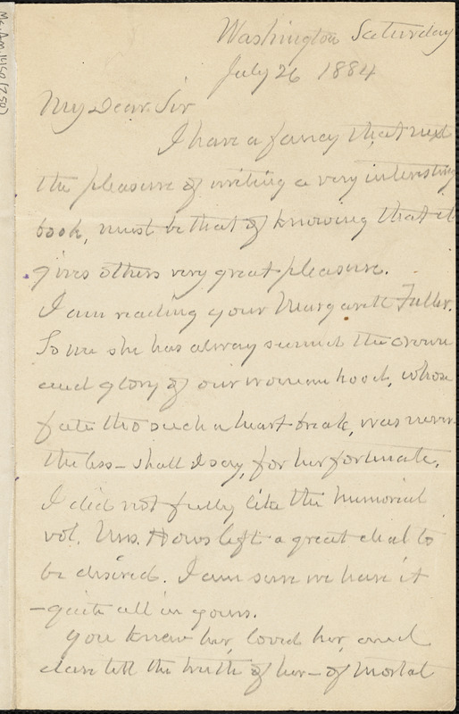 Albert Gallatin Riddle autograph letter signed to Thomas Wentworth Higginson, Washington, D. C., 26 July 1884