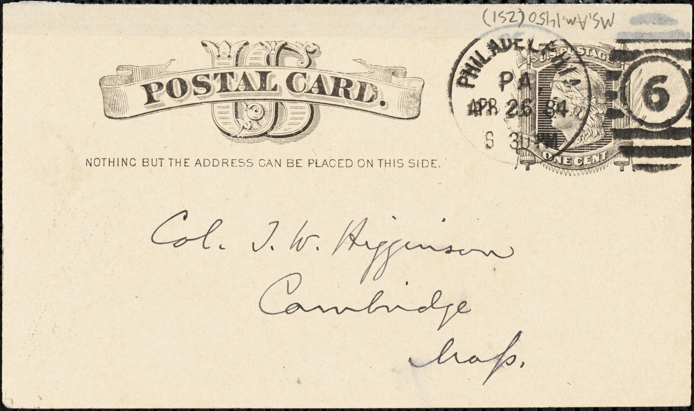J. S. Rosengarten autograph note signed to Thomas Wentworth Higginson, Philadelphia, 26 April 1884