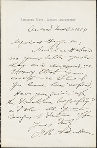 Franklin Benjamin Sanborn autograph note signed to Thomas Wentworth Higginson, Concord, Mass., 10 March 1884