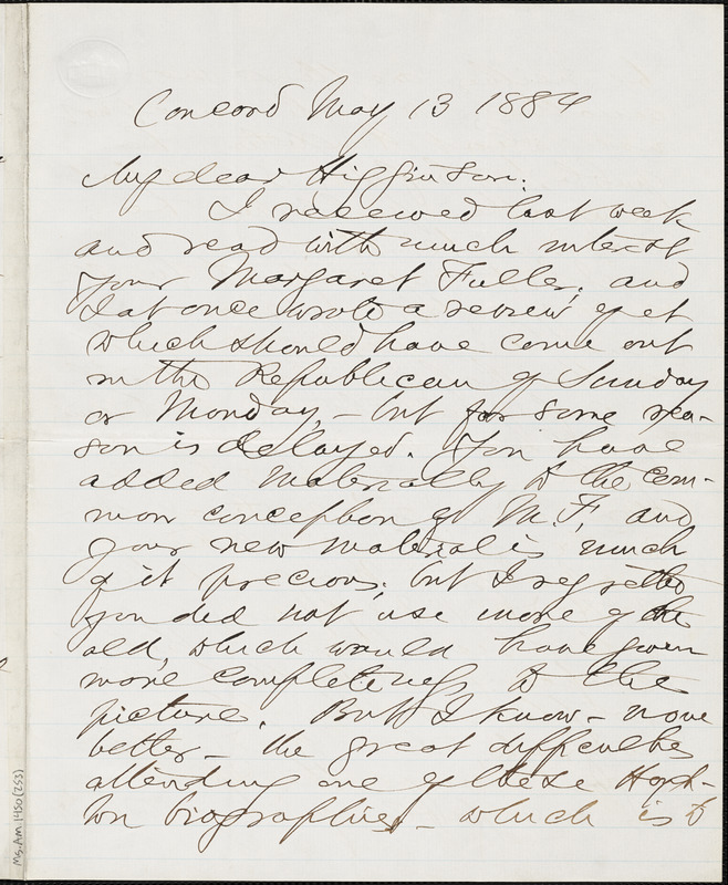 Franklin Benjamin Sanborn autograph note signed to Thomas Wentworth Higginson, Concord, Mass., 13 May 1884