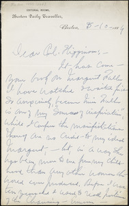 Lilian Whiting autograph letter signed to Thomas Wentworth Higginson, Boston, Mass., 10 May 1884