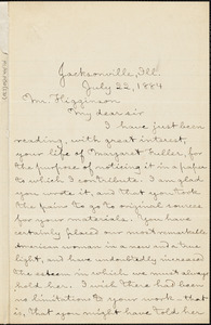 John H. Woods autograph letter signed to Thomas Wentworth Higginson, Jacksonville, Ill., 22 July 1884
