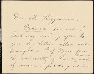 A. Hellrigl autograph note signed to Thomas Wentworth Higginson, Cambridge, Mass., 14 March 188-?