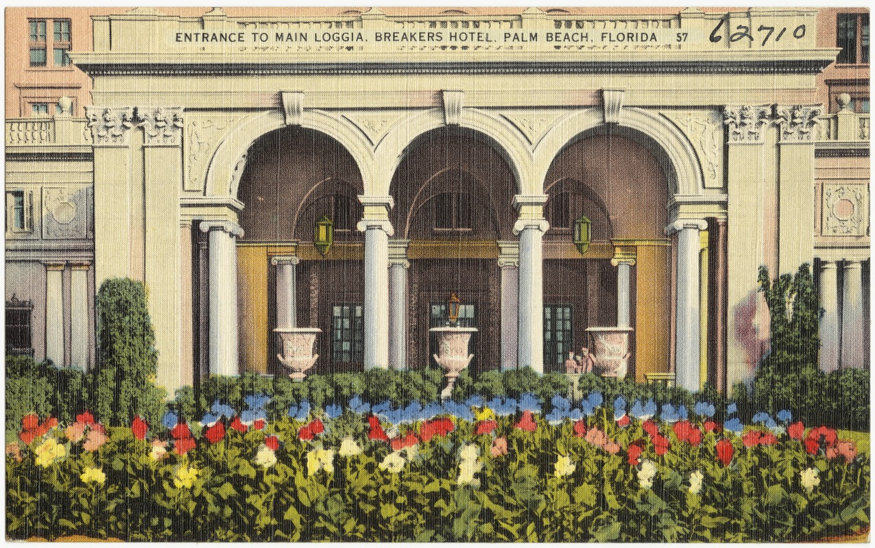 Entrance to main loggia, Breakers Hotel, Palm Beach, Florida