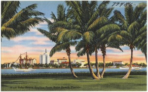 West Palm Beach skyline from Palm Beach, Florida