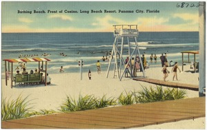 Bathing beach, front of casino, Long Beach Resort, Panama City, Florida