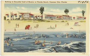 Bathing in beautiful Gulf of Mexico at Florida Beach, Panama City, Florida