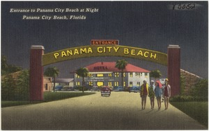Entrance to Panama City Beach at night, Panama City, Florida