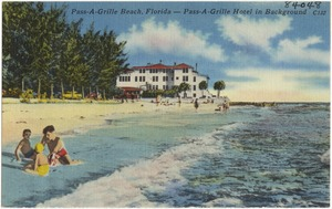 Pass-A-Grill Beach, Florida- Pass-A-Grill Hotel in background