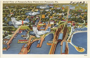 Aerial view of Pensacola, navy planes over Pensacola, Florida