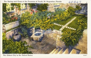 The spring and the cross at the fountain of youth, St. Augustine, Florida, the oldest city in the United States