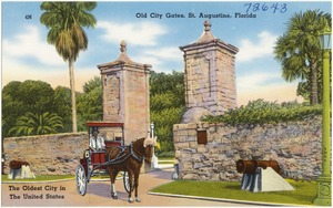 Old city gates, St. Augustine, Florida, The oldest city in the United States