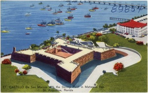 Castillo de San Marcos with the shrimp fleet in Matanzas Bay, St. Augustine, Florida