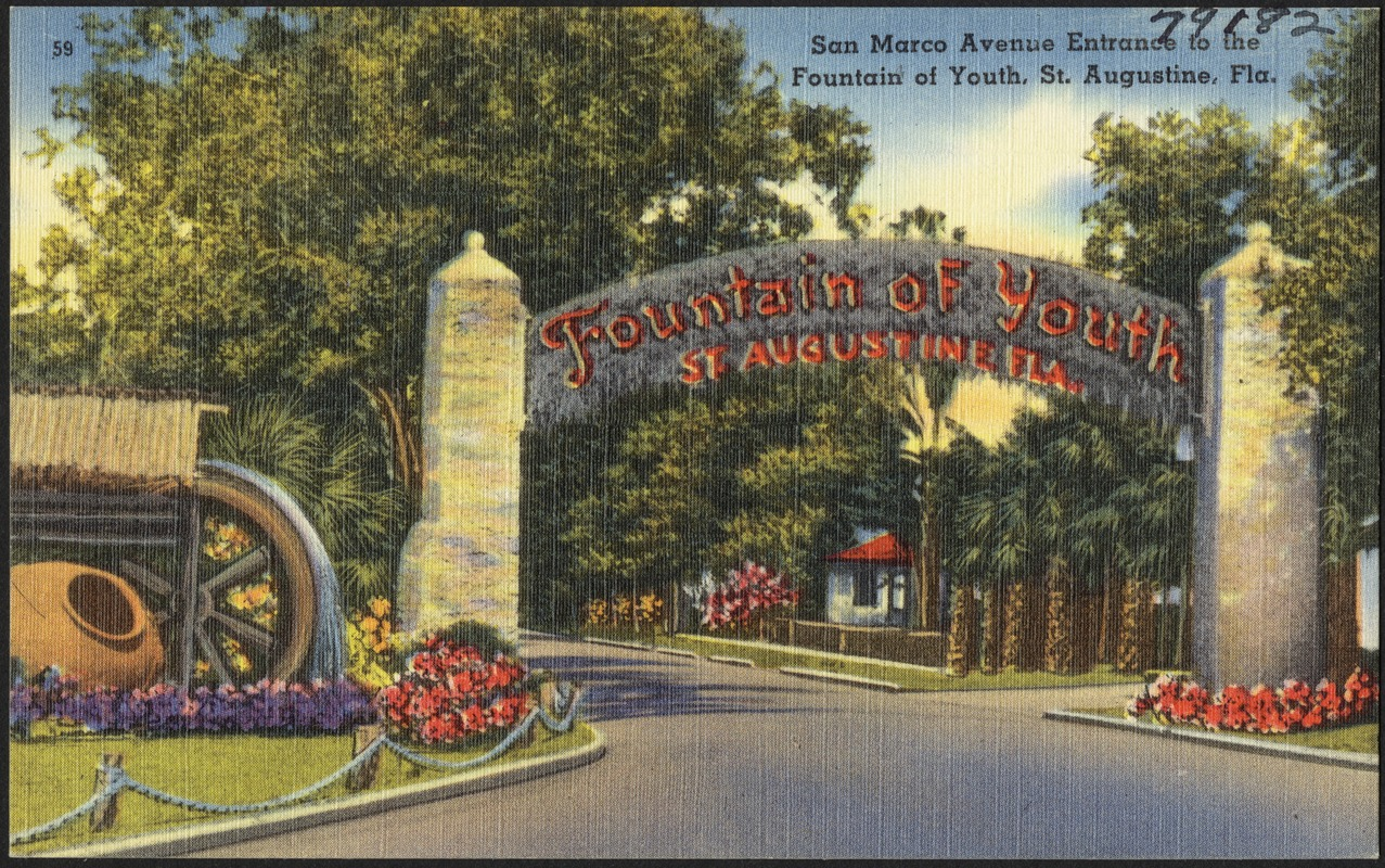 San Marco Avenue entrance to the Fountain of Youth, St. Augustine, Florida, the oldest city in the United States
