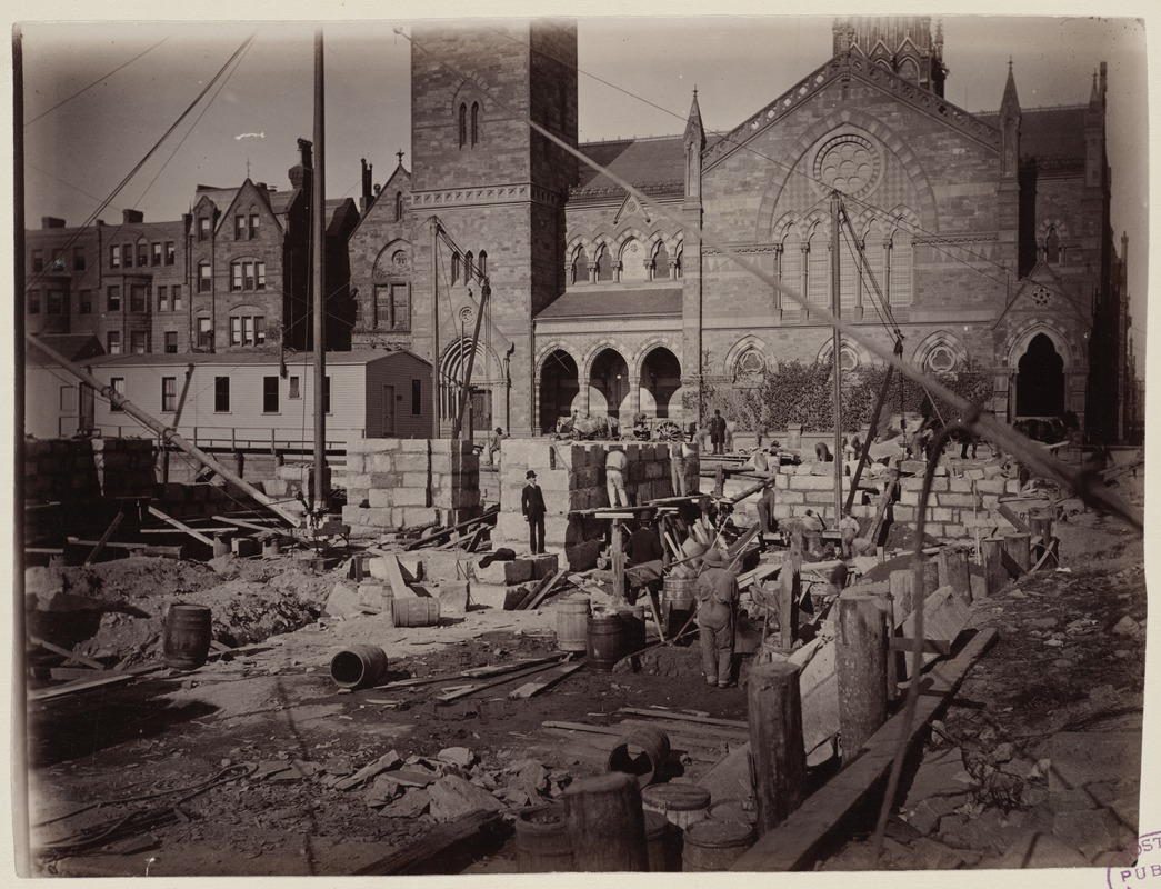 Foundation work at the corner of Boylston and Dartmouth Streets, construction of the McKim Building