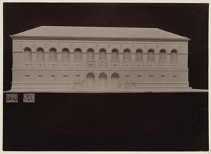 Plaster model of the McKim Building with casts of the Boston Public Library Seal