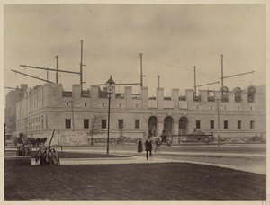 General view of the Facade taken from front of the Museum of Fine Arts, construction of the McKim Building