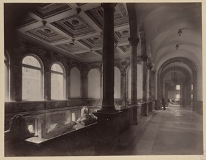 Arcade corridor with Saint-Gaudens lions, construction of the McKim Building