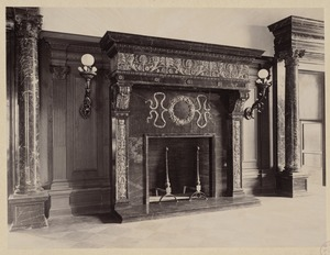 Marble mantlepiece, delivery room, construction of the McKim Building
