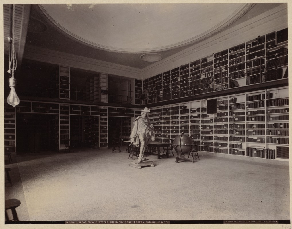 Barton Room with statue of Sir Harry Vane, construction of the McKim Building