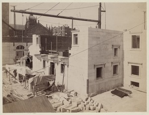 East wall of Courtyard under construction, construction of the McKim Building