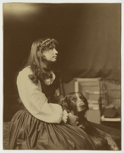 Helen Keller as an Adolescent, Sitting With Her Dog