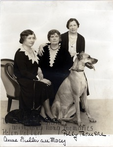 Portrait of Keller, Sullivan, and Thomson with a Great Dane