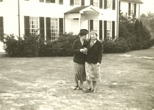 Helen Keller and Unknown Woman outside Arcan Ridge Home