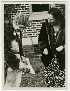 Helen Keller and Polly Thomson Playing with Kamikaze
