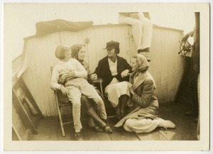 Helen Keller and Polly Thomson with Others on a Boat