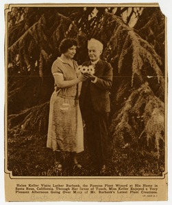 Helen Keller with Luther Burbank, the Famous Plant Wizard