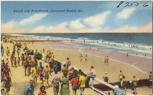 Beach and boardwalk, Savannah Beach, Ga.