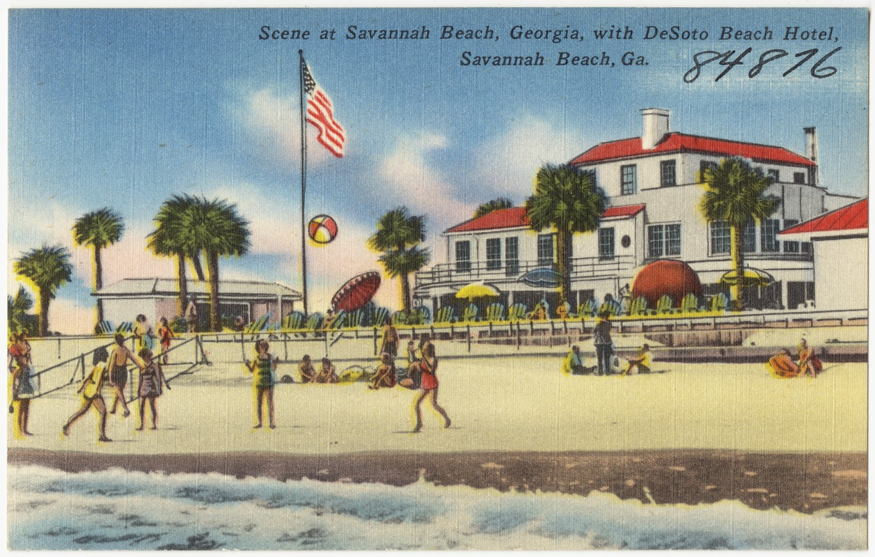 Scene At Savannah Beach Georgia With Desoto Hotel Ga