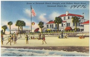 Scene at Savannah Beach, Georgia with DeSoto Beach Hotel, Savannah Beach, Ga.