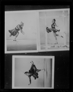 Photo of three photos of Sonja Henie on the ice, executing a move