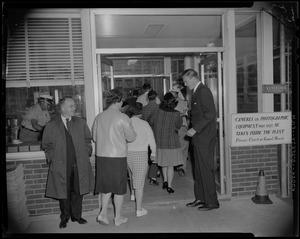 George C. Lodge welcoming the crowd into Raytheon Missile and Space Division Andover Plant