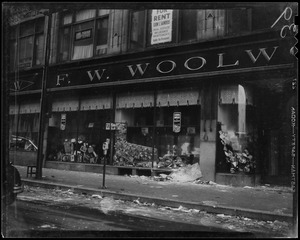 Aftermath of debris outside of F. W. Woolworth