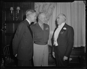 General Eisenhower talking to Harvard President, James Bryant Conant, and Boston University President, Daniel Marsh