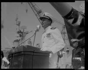 Captain Glover T. Ferguson speaking at the U.S.S. Boston change of command ceremonies at Charlestown Navy Yards