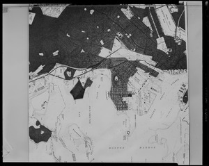 A photograph of a map of Boston and Boston Harbor