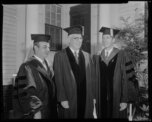 Judge Charles E. Wyzanski, Chief-Justice Earl Warren and Dean Robert B. Stewart at Tufts Commencement