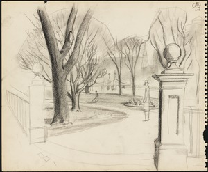 Sketch of the entrance to the Boston Public Garden, figure in the middle